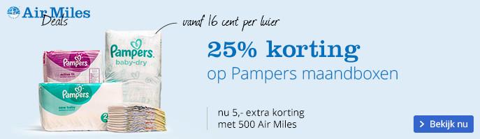 25% korting op Pampers maandboxen, 5,- extra korting bij 500 Air Miles