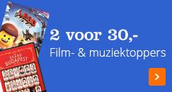 Film- & muziektoppers: 2 voor 30,-