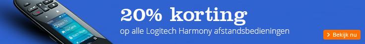 30% korting   op alle Logitech Harmony afstandsbedieningen