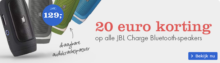 20 euro korting op alle JBL Charge Bluetooth speakers