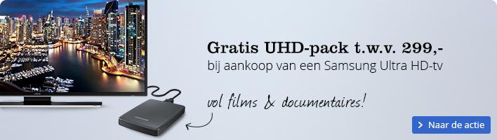 Gratis UHD-pack t.w.v. 299,- bij aankoop van een Samsung Ultra HD-tv