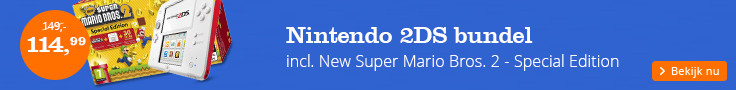 Nintendo 2DS bundel incl. New Super Mario Bros. 2 - Special Edition plus 30 extra muntenjachtlevels!
