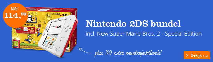 Nintendo 2DS bundel incl. New Super Mario Bros. 2 - Special Edition, plus 30 extra muntenjachtlevels!