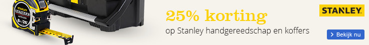 25% korting op Stanley handgereedschap en koffers