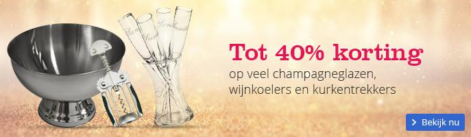 Tot 40% korting | op veel champagneglazen, wijnkoelers en kurkentrekkers