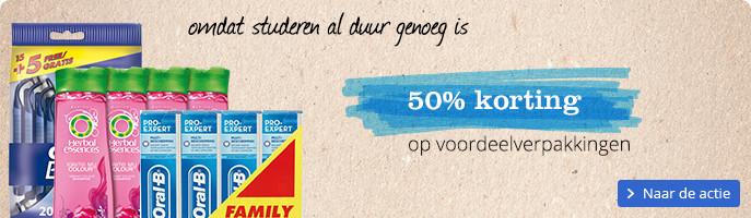50% korting op voordeelverpakkingen