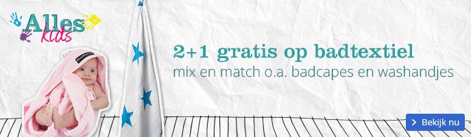 2+1 gratis op badtextiel, mix en match o.a. badcapes, hydrofiele doeken en washandjes